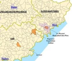 La carte des zones NB en région PACA